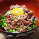ステーキ肉でかんたんユッケ風ローストビーフ丼!